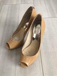 brown Michael Kors leather peep-toe pumps