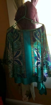 green and blue floral long-sleeved dress Union, 63084