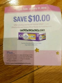 Nestle $10 formula coupon expires Jan 31 Oakville, L6L 6X6