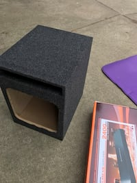 Subwoofer box and amplifier, bunch of other cool stuff: Harmon speakers, etc