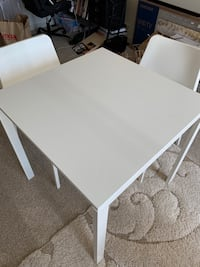 white wooden table with white wooden base Silver Spring