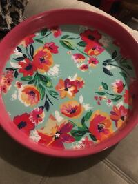 round white, pink, and green floral ceramic plate Hamilton, L8R 3H4
