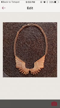 Gorgeous gold wing necklace!