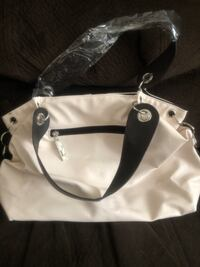 white and black leather tote bag Broadlands, 20148