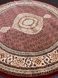 New Turkish Round rug size 8x8 circle carpet red burgundy Persian rugs and carpets Burke