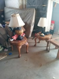 two brown wooden table lamps