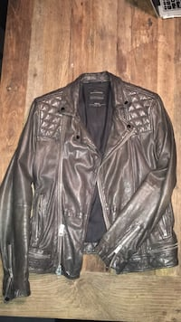 Men's All Saints Quilted Ink leather zip-up jacket-- EXCELLENT condition Richmond Hill, L3T 0B5