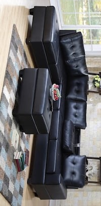 [CLEARANCE] Heights Black Faux Leather Reversible Sectional with Storage Ottoman Houston, 77036