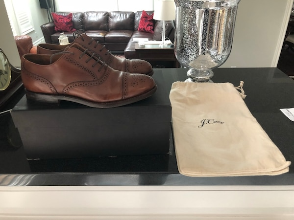 Size 8 J Crew Brogue Brown Leather Dress Shoes