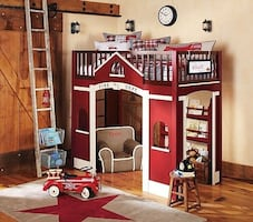 Red and white fire truck loft bed pottery barn