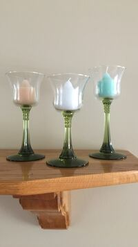 Three green tinted base wine glass themed votive holders Pincourt, J7W 0M9