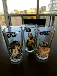 3 Star Wars drinking glasses Brampton, L6S 6H1