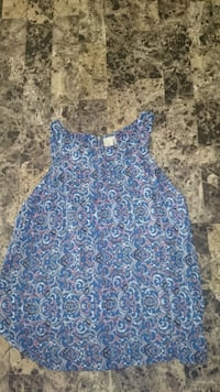 Girls blue and white floral sleeveless blouse