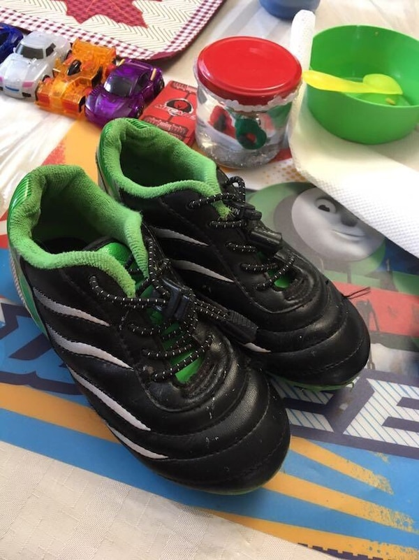 328347f9ad1 Used pair of black-and-green Adidas sneakers for sale in Dollard-Des ...