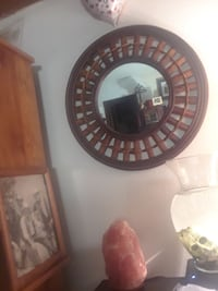 round brown wood-framed mirror and pink Himalayan salt lamp Kelso, 98626