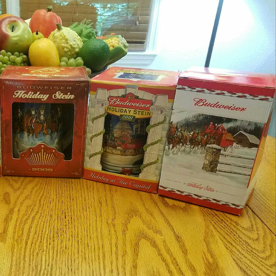 Budweiser Holiday Steins Brand New W Certificate In