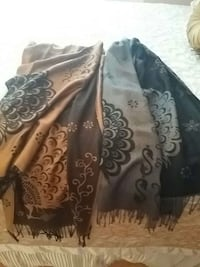 Two brown and black floral scarves