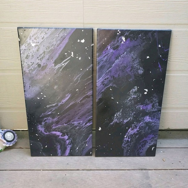 Set of 2 12inch by 24inch acrylic paintings