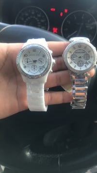 two round silver chronograph watches Long Beach, 90806