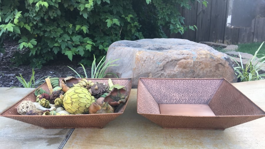 2 Gorgeous Copper Colored Metal Decor Items. Could use as planters!! 0