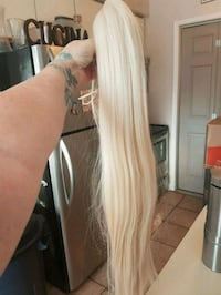 Platinum blond clip on ponytail