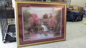 brown wooden framed painting of a bridge