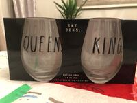 Rae Dunn King and Queen Stemless wine glasses Barrie, L4M 4G8