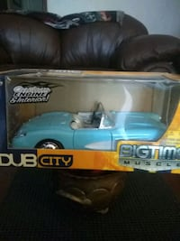 blue and white Bigtime Muscle convertible coupe die-cast box Pensacola, 32504