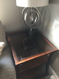 wooden table and gray table lamp Battersea, K0H 1H0