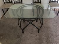 round glass top table with black metal base Winnipeg, R3M 1L8
