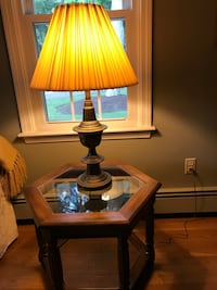 brown wooden base table lamp with beige lampshade Washington, 20024