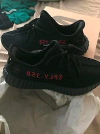 pair of black Adidas Yeezy Boost 350 V2 The Bronx, 10472