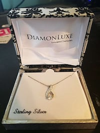 Sterling Silver w/ created Diamond necklace