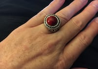 Silver tone and red stone ring, size 8 1/2 Atascadero, 93422