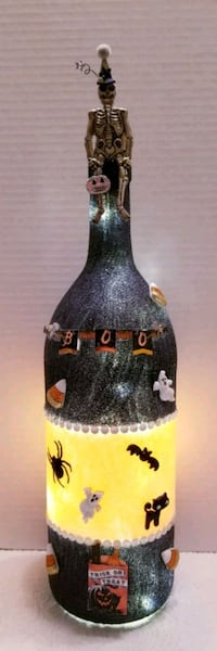 Halloween Decorated wine bottle with battery powered led lights  Metairie, 70003