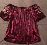 women's red and brown floral blouse Lake Dallas, 75065