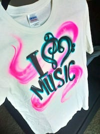 I ❤️ music spray painted shirt Vallejo