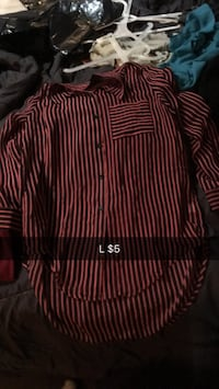 red and black pinstriped dress shirt