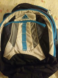 white, black, and blue Adidas backpack