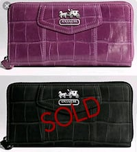 COACH Purple Leather Croc Embossed Wallet  North York, M3K 2C1