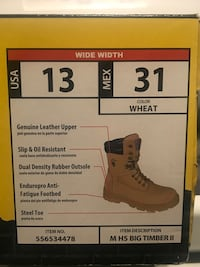 STEEL TOE WORK BOOTS - BRAND NEW IN THE BOX - SIZE 13 WIDE