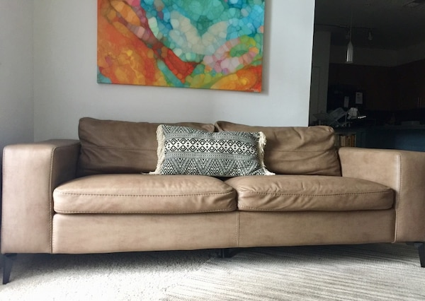 Beautiful sofa synthetic leather color latte