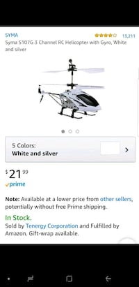 white Syma S107G 3 channel RC helicopter with gyro screenshot Modesto, 95358