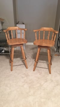 Two swivel  wooden bar chairs Coquitlam, V3B