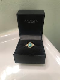 Genuine emerald ring with real diamonds, 14k gold band Fairfax, 22033