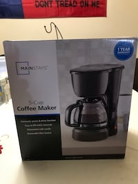 5 cup coffee maker(new) never used. Still in box as pictured(instructions inside as well) Chula Vista, 91911