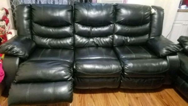 Used Black Leather 3 Seat Recliner Sofa For Sale In Prospect Park