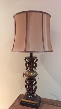 brown wooden base with taupe lampshade table lamp