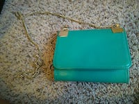 Teal leather clutch bag With Gold Chain Allen, 75013