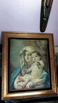 Lovely Antique Madonna and Baby Painting Framed! Chicago